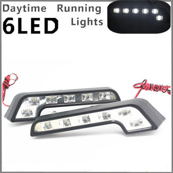 2 x 6LED Super Witte Auto Rijden Lamp Fog 12 v Universele Drl Dagrijverlichting voor ford focus vw skoda polo golf jetta kia