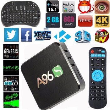 2016 Nieuwste A96S 2 GB/8 GB Amlogic S905X Android 6.0 TV Box Quad Core 2.4G Wifi Volledige Geladen Miracast Media Player Set Top Box