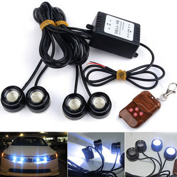 4X Wit 12 W Strobe Flash LED Eagle Eye 23mm Auto Fog Drl + Draadloze Afstandsbediening Amber Geel