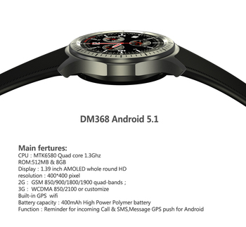 "Android Smart Horloge DM368 MTK6580 Quad Core 1.3 Ghz 1.39 ""AMOLED Display RAM 512 MB + ROM 8 GB Hartslagmeter QQ 3G WIFI APP"