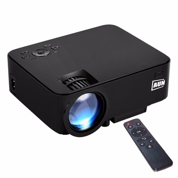Aun am200p android 4.4 mini projector 1500 lumen led 800x480 multimedia video projector home theater met remot controller 8 gb