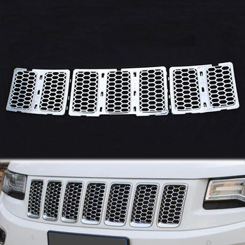 BBQ @ FUKA Chrome ABS Inserts Honing Kam Mesh Garneer Bezel Cover trim auto styling fit voor jeep grand cherokee 14 auto accessoires