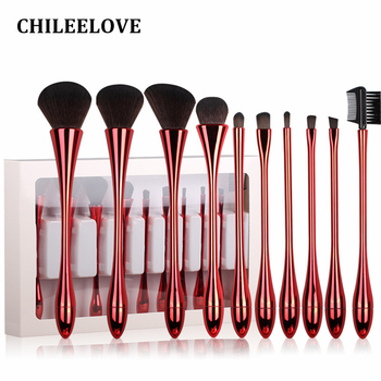 CHILEELOVE 10 Stks Plating Matte Light Goblet Vorm Professionele Vrouwen Up Borstel Sets Base Makeover Blush Wenkbrauw Wimper Kam