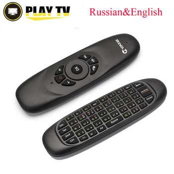 Echt Engels Russische C120 air mouse oplaadbare fly muis toetsenbord voor Smart TV BOX Computer Mini PC