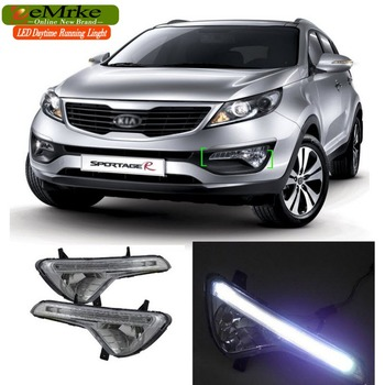 EeMrke Auto LED DRL Voor KIA Sportage SL 2010 2011 2012 2013 2016 Xenon Wit DRL Fog Cover Dagrijverlichting Kits