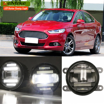EeMrke Auto Styling Voor Ford Fusion Mondeo 2013 2016 2 in 1 LED Mistlamp Lamp DRL Met Lens Dagrijverlichting