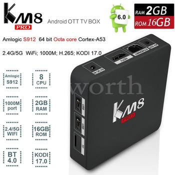 KM8 Pro Android 6.0 TV Box 2 GB 16 GB Amlogic S912 Octa Core 4 K Smart Mini PC Kodi 17.0 Professionele 2.4G/5G Wifi BT4.0 V A95X M8S