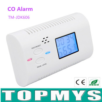 Koolmonoxide Detector Alarm Sensor zonder batterij CO Detector met Lcd-scherm Voice prompt Home Security Alarm