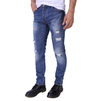 Mannen Jeans Mode Slim Fit Ripped Jeans Denim Button Fly Jeans Voor Mannen H0293