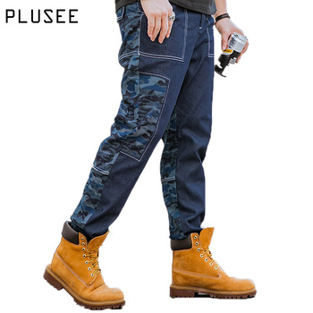Plusee mannen denim jeans blue casual jeans pocket 2017 lente volledige Lengte plus size losse rechte big size mannen denim jeans