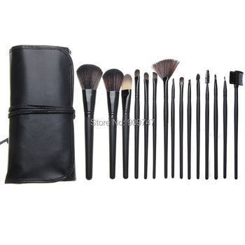 Professionele 15 Stks 15 Stks zwart hout Make Up Borstels Make Facial Cosmetica Kit foundation Beauty Tassen Set kits