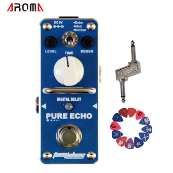 Promotie! aroma ape-3 pure echo digitale vertraging mini analoge effect true bypass + pedaal connector + 2 pics plectrums