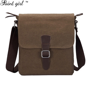 Saint Meisje Mannen Canvas Lederen Messenger Schoudertassen Vintage Kleine Cross-body Bag Casual Mini Flap Tassen SNS292
