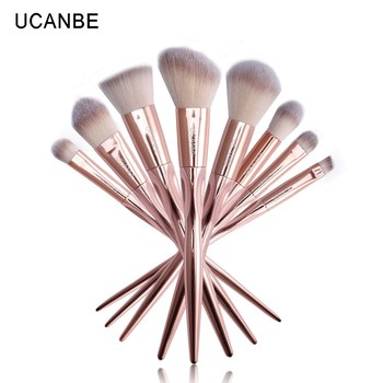 Ucanbe 8 stks/set rose golden metallic make borstels set cosmetische greep borstel fiber haar poeder oogschaduw wenkbrauw borstel kit