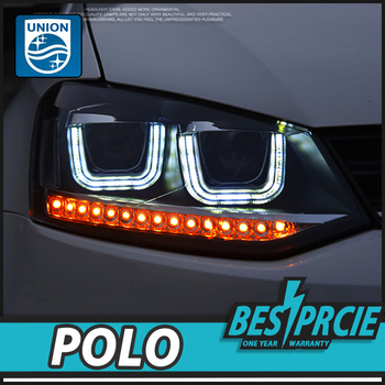 UNION Auto Styling voor VW Polo 2011-Koplampen Volks wagen Nieuwe Polo LED Koplamp Cruiser drl Lens Dubbele Beam H7 HID Xenon