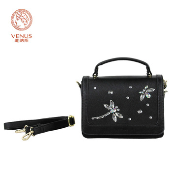 Venus Casual Vrouwen Handtassen Zwart Synthetisch frosted Lederen met Dragonfly Diamonds Tote Single-Schoudertas Bolsas Femininas