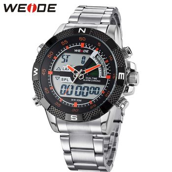 Weide beroemde mode alarm stop analoge cijfers multifunctionele sport waterdichte orange watch/wh1104
